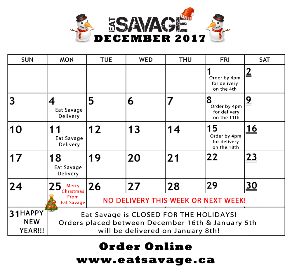 Christmas Holiday Hours - Eat Savage