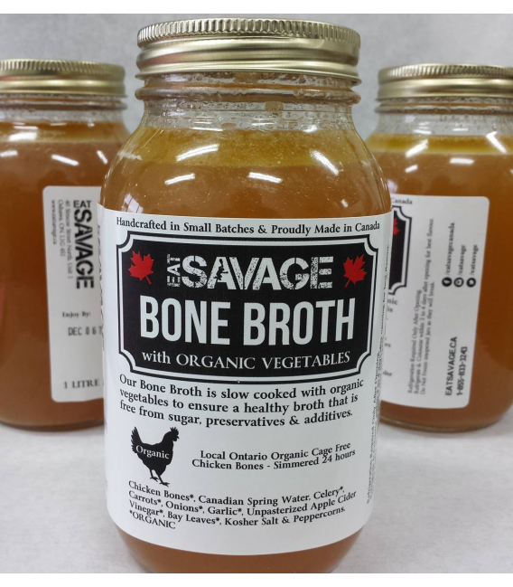 1 litre Bone Broth - Organic Chicken Bones & Organic Veggies