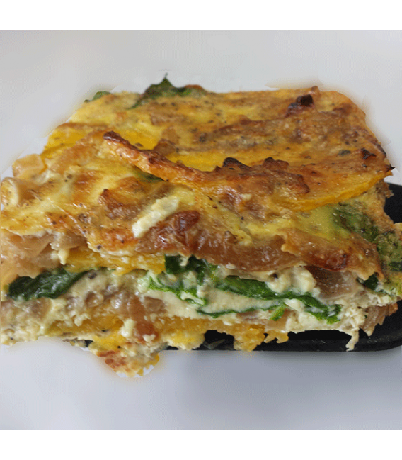 Close up of our Butternut Squash Frittata with caramelized onions & spinach