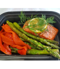 Lemon Dill Wildcaught Salmon with Roasted Asparagus & Red Pepper
