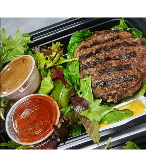 Grass Fed Beef Burger w/ Mixed Greens & Balsamic Dressing