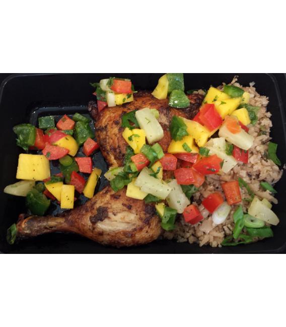Jerk Chicken w/ Island Cauliflower Rice & Mango Pineapple Salsa (Organic Chicken)