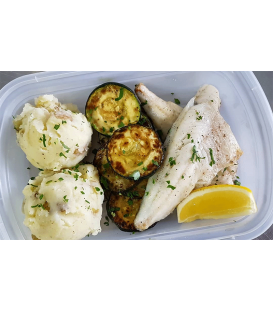 Wildcaught Canadian Pickerel with Sauteed Zucchini and Mashed Potatoes