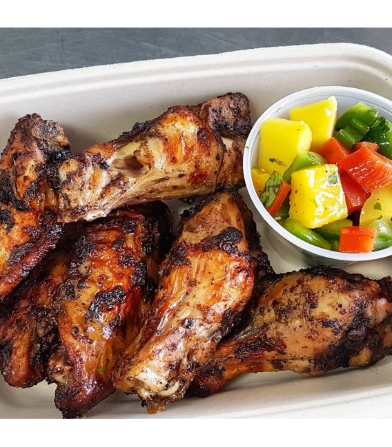 Jerk Chicken Wings with Mango Pineapple Salsa