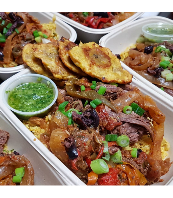 Grassfed Ropa Vieja served with Cuban Cauli Rice & Tostones