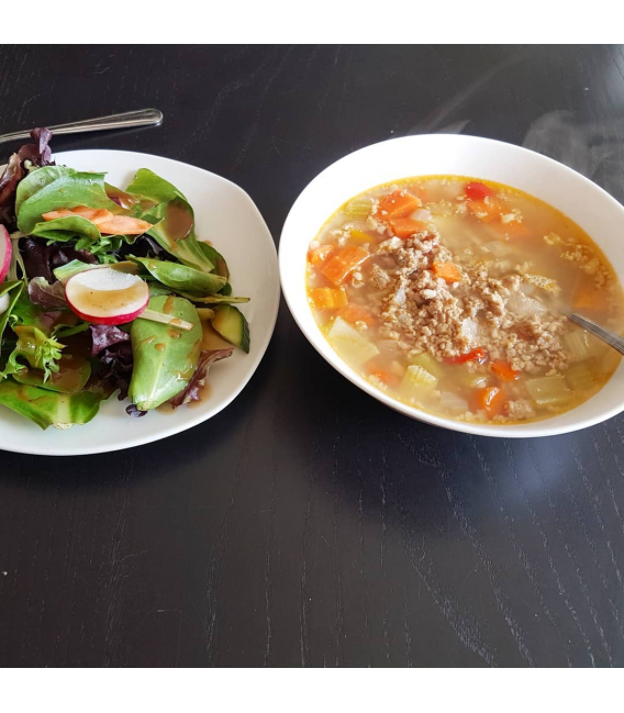 Hearty Sausage and Veggie Soup and Salad