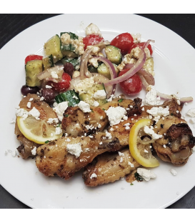 Greek Chicken Wings with Salad
