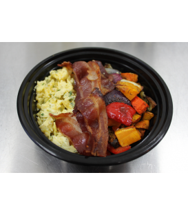Scrambled Eggs w/ Bacon & Roasted Veggies