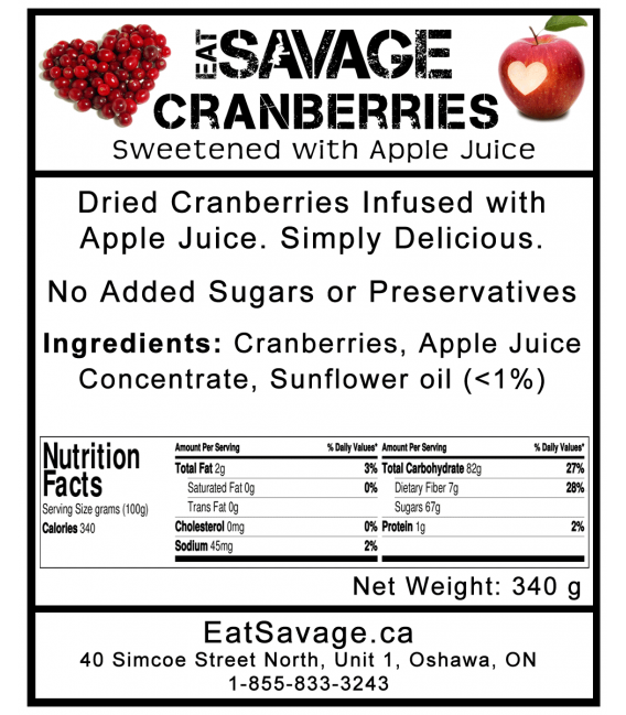 Dried Cranberries - Sweetened with Apple Juice - 99% Paleo