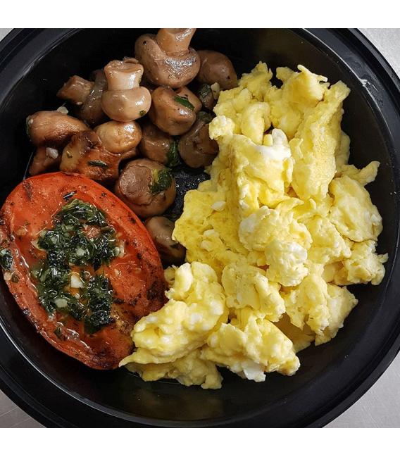 Scrambled Eggs w/Grilled Tomato & Mushrooms