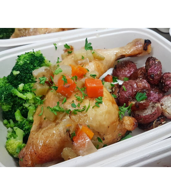 Roasted Organic Chicken Leg w/ Side Dishes